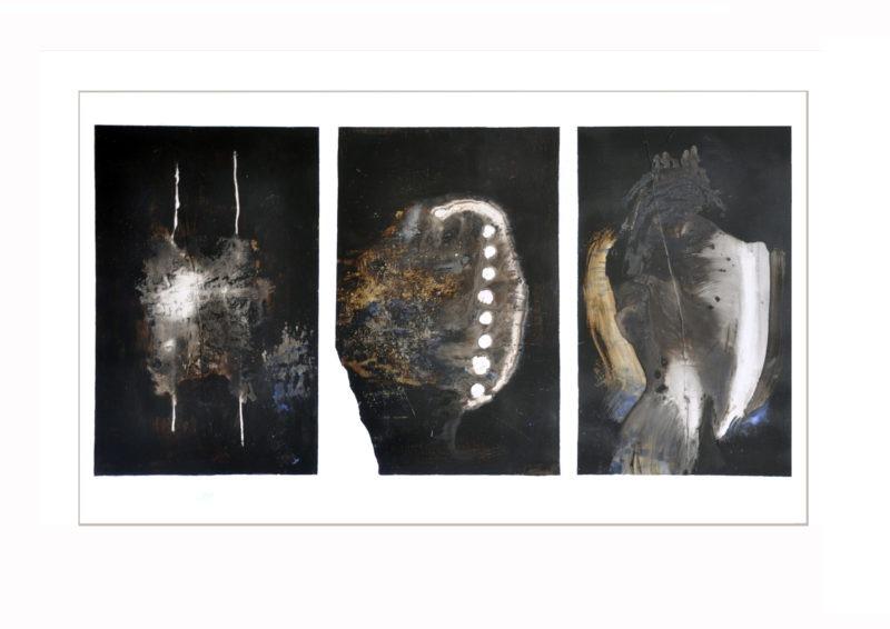 oeuvre abstriate sur papier avec couleurs sombres de Jean-Luc Guin'Amant