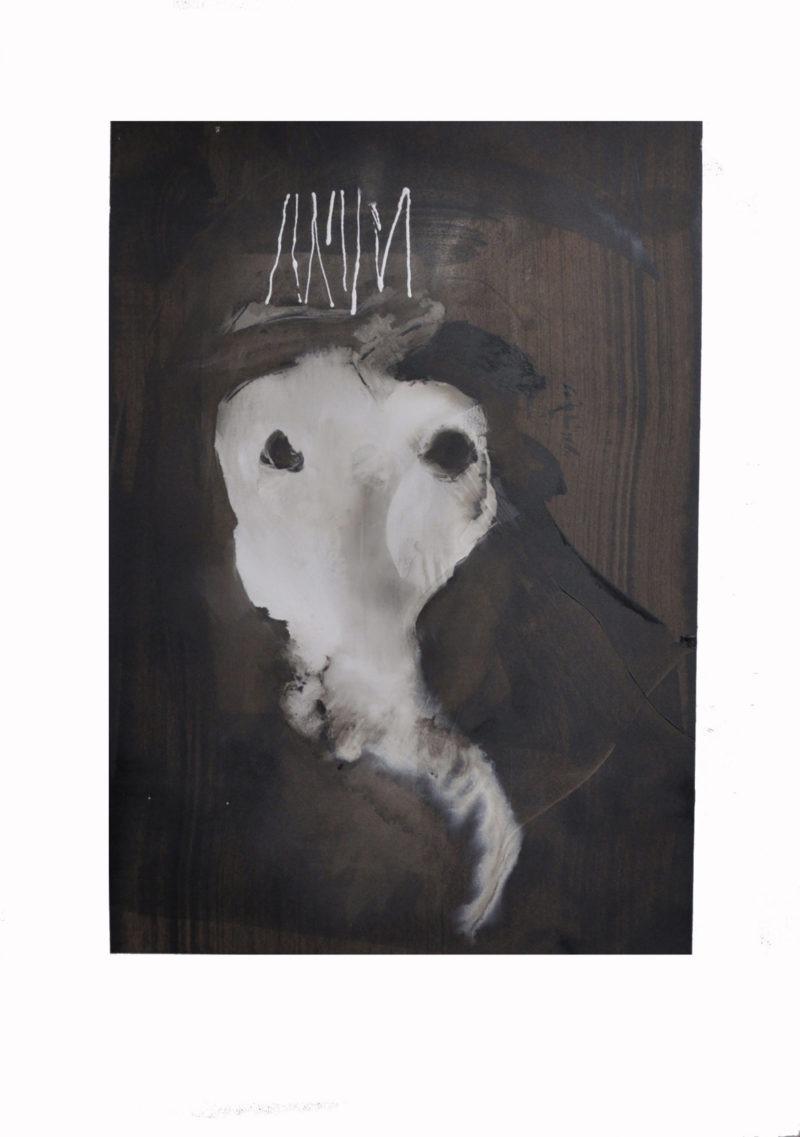 peinture à l'huile abstraite avec couleurs sombres de Jean-Luc Guin'Amant