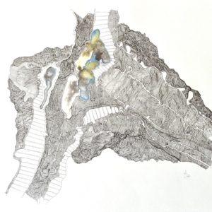 dessin aquarelle contemporaine et encre de chine de Christiane Filliatreau en vente dans le store de la galerie 22