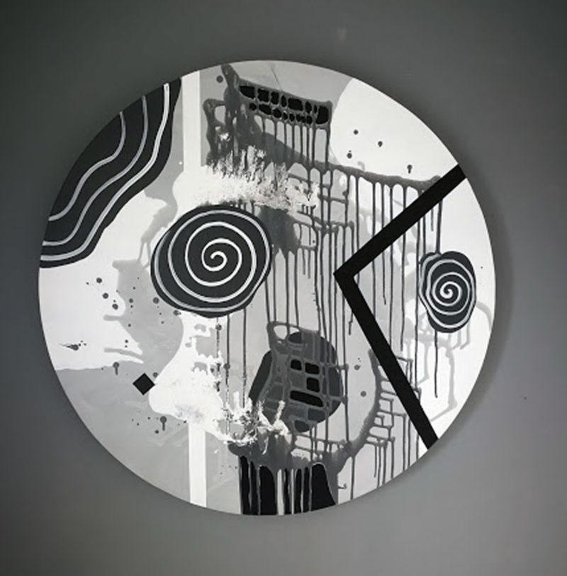 peinture acrylique abstraite forme ronde de Thoma Ryse dans la boutique en ligne de la Galerie 22