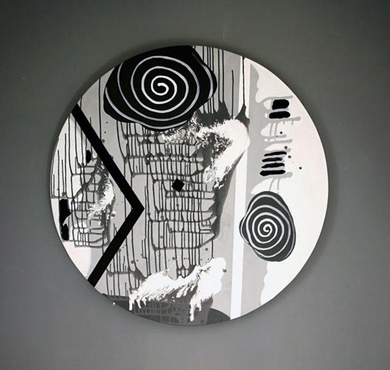toile ronde noir et blanc de Thoma Ryse en vente dans la boutique en ligne de la galerie22