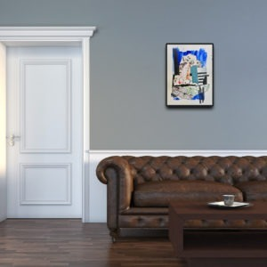 collage sur papier bleu et blanc de danielle prijikorski