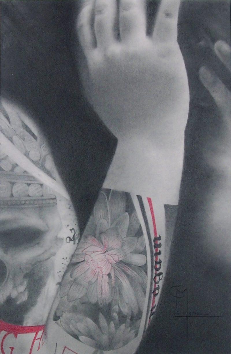 dessin aux crayons de papier contemporain de Christophe Moreau en vente dans la boutique de la Galerie 22