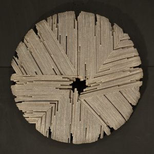 wall sculpture in fluted cardboard by Pierre Ribà on sale in the store of the gallery 22 contemporary
