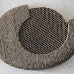 wall sculpture in fluted cardboard on wood by Pierre Ribà on sale in the blind of the gallery 22