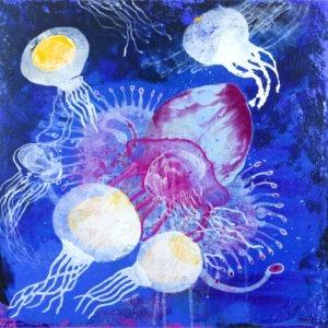 technique mixte sur toile , peinture contemporaine colorée d'Enrique Mestre-Jaime en vente dans le store de la Galerie 22 contemporain