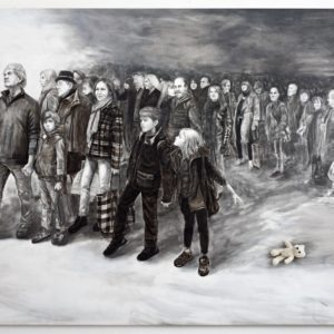 acrylique et pierre noire sur toile grand format art narratif contemporain de Svetà Marlier disponible dans le store de la Galerie22
