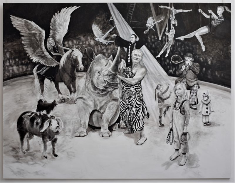 large size black and white acrylic painting by Svetà Marlier