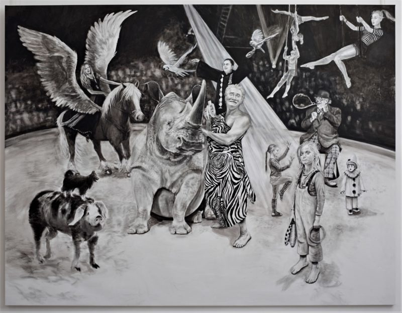 peinture en noir et blanc acrylique grand format de Svetà Marlier