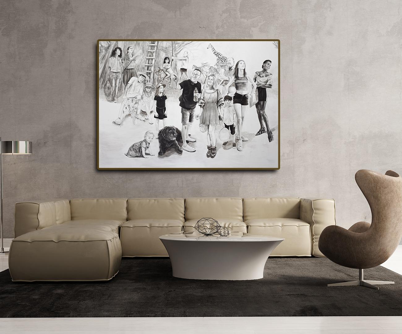 peinture en noir et blanc de Sveta Marlier dans salon contemporain design