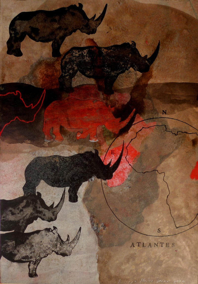 africeros is a painting on paper by enrique mestre-jaime for sale in the shop of the gallery 22 contemporary