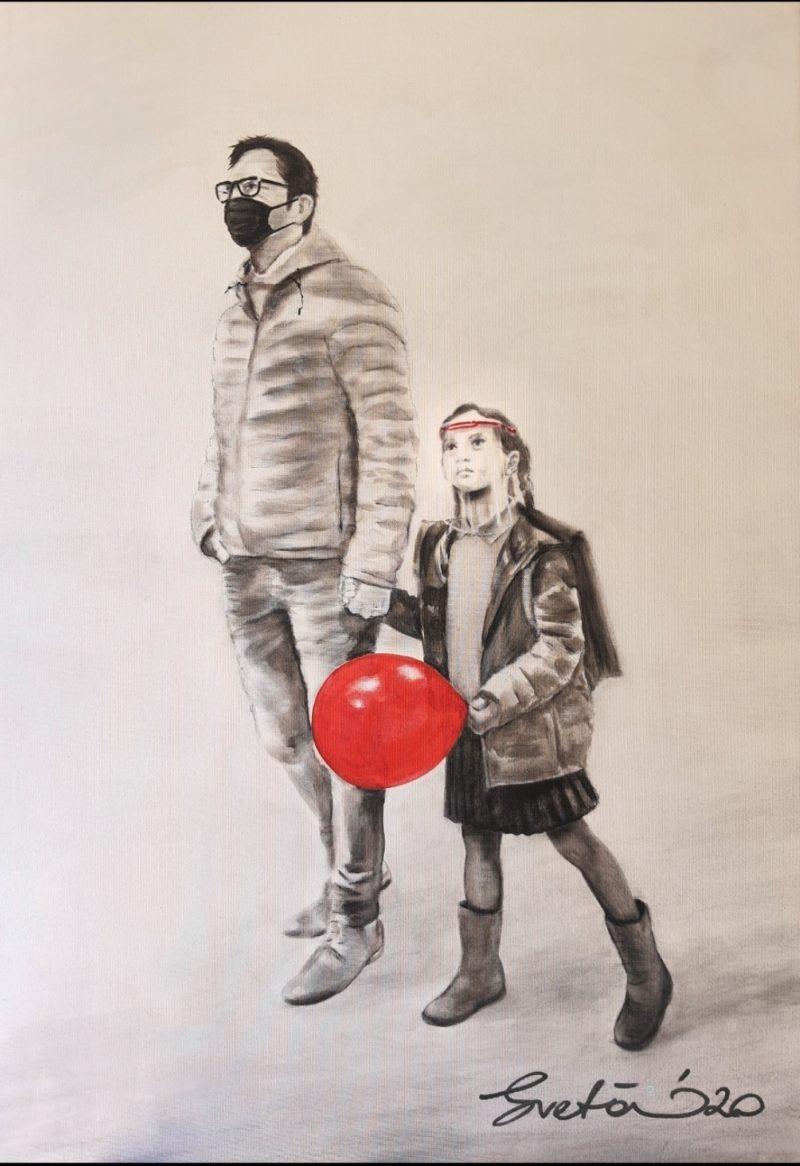 peinture acrylique et pierre noire sur toile de sveta marlier en vente dans la boutique en ligne de la galerie 22