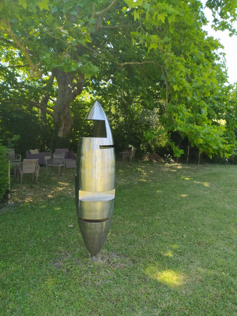 monumental sculpture in stainless steel for the garden of felix valedlievre on sale in the online shop of gallery 22.