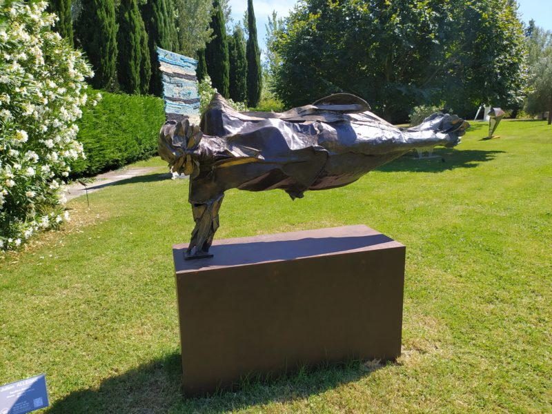 illusory balance is a bronze sculpture for the garden by julien allegre on sale in the online shop of gallery 22.