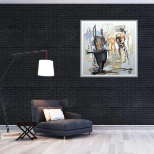 technique mixte abstraite de Jean Louis Bessède dans intérieur contemporain