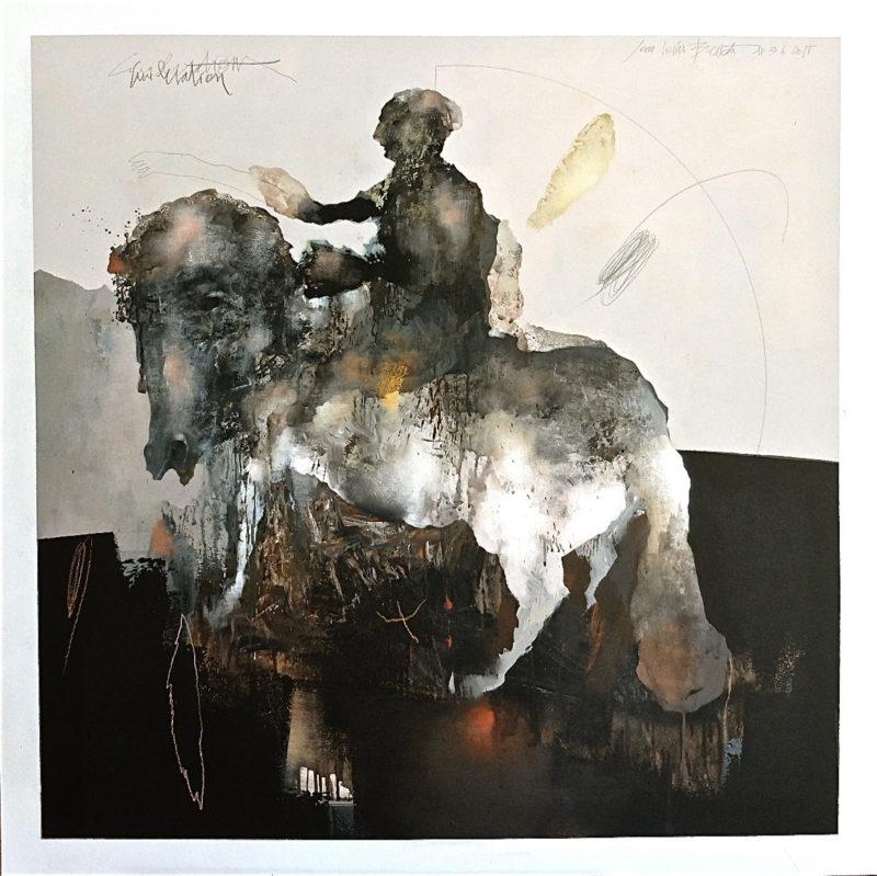 le cavalier est une peinture acrylique de jean louis bessede artiste peintre disponible dans le store de la galerie 22