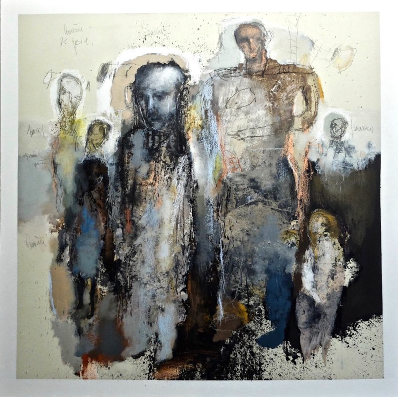 the meditators acrylic painting by jean louis bessede eartiste painter for sale in the online shop of galerie 22