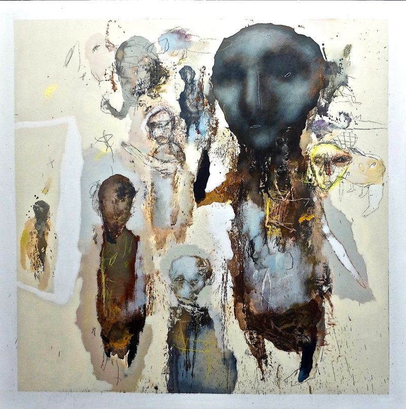 l'humanité is an acrylic painting by jean louis bessede on sale in the online shop of gallery 22