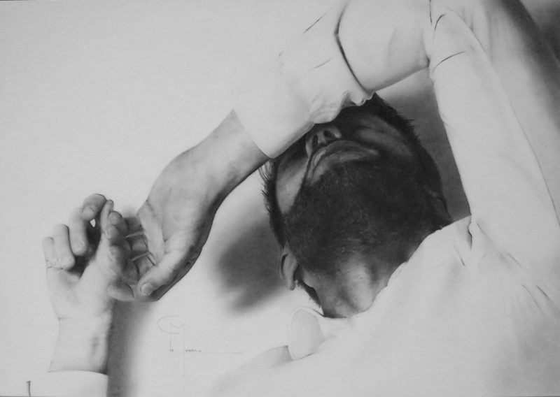 figurative drawing with pencils on paper by Christophe Moreau on sale in the online shop of the gallery 22 contemporain