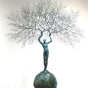 contemporary figurative sculpture in copper on a base for sale in the online shop of the gallery 22