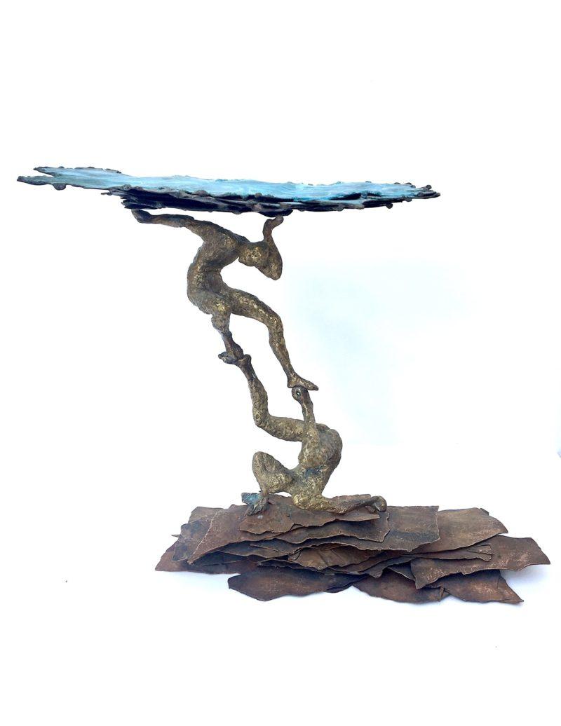 sculpture contemporaine en bronze et cuivre de gilles candelier disponible dans la boutique en ligne de la galerie 22a