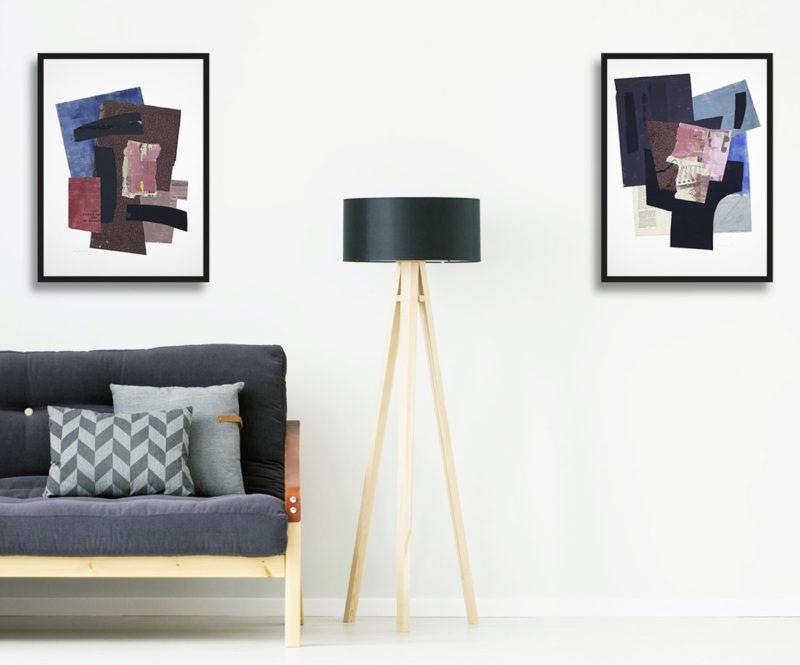 collages sur papier bleu, marron et rouge de raymond guerrier