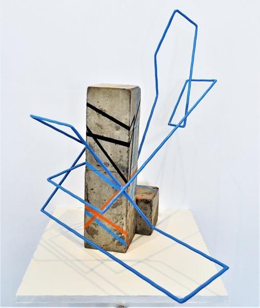 Sculpture Zanello cubique ligne bleu
