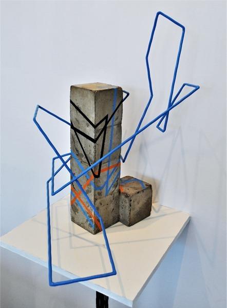 Sculpture cubique Zanello Tag bleus