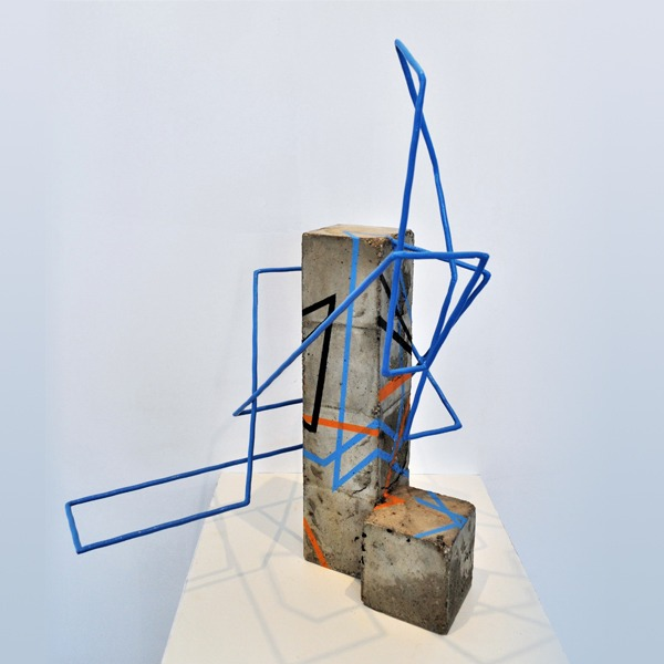 metal and concrete sculpture by sebastien zanello in the official shop of gallery22