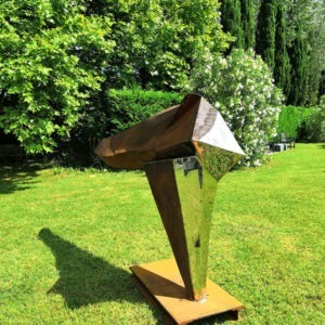 sculpture in corten and stainless steel for the garden of julien allegre available in the online shop of galerie 22.