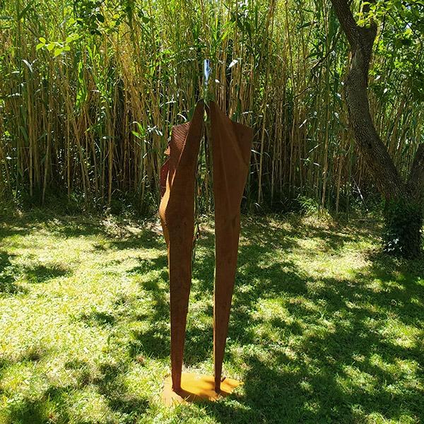 sculpture metal et inox pour le jardin en vente dans la boutique en ligne de la galerie 22.