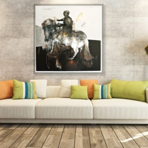 the rider is an acrylic painting of jean louis bessede artist painter available in the store of the gallery 22