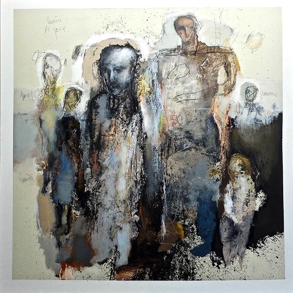 les meditants peinture acrylique de jean louis bessede eartiste peintre en vente dans la boutique en ligne de la galerie 22