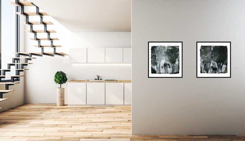 petites peintures contemporaines de patrick loste dans maison moderne