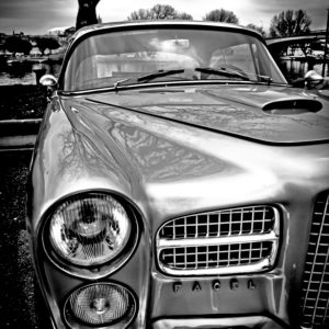 facel vega automobile photography aluminium print for sale in the blind of gallery 22.