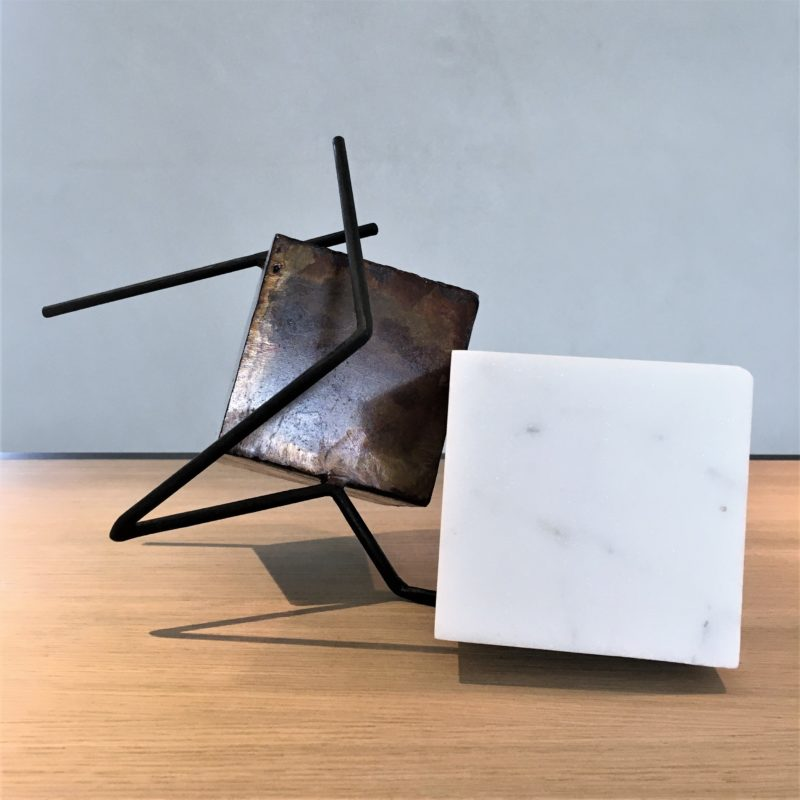 sculpture in metal and Carrara marble by sebastien zanello artist sculptor of the gallery 22, on sale in the online gallery