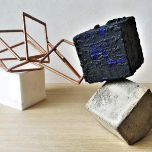 sculpture metal oxydé et béton de sebastien zanello en vente dans la galerie en ligne de la la galerie 22