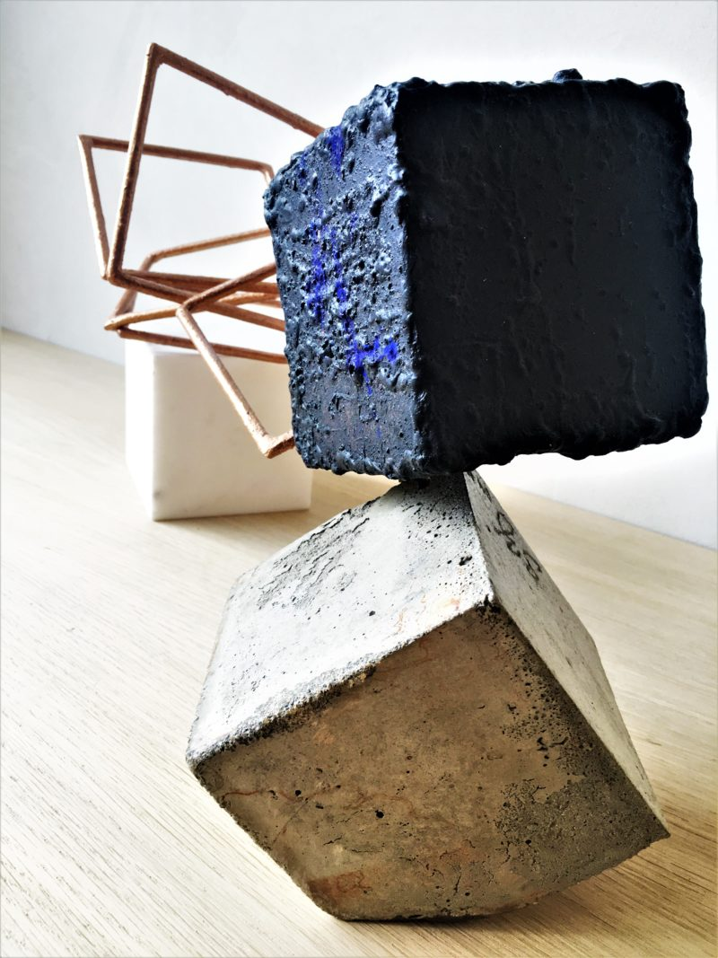 sculpture oxidized metal and concrete by sebastien zanello on sale in the online gallery of gallery 22