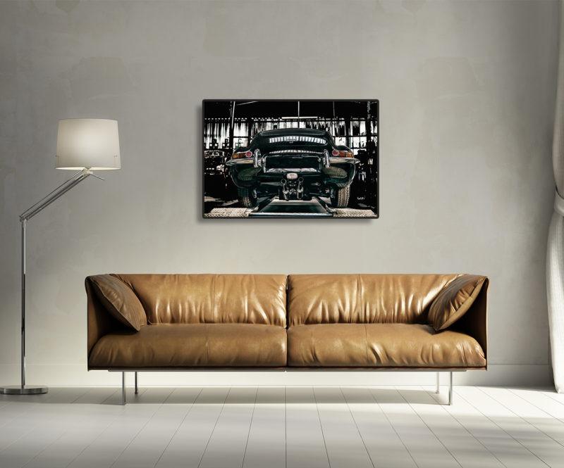 photographie jaguar type e série 1 coupé vintage tirage sur aluminium