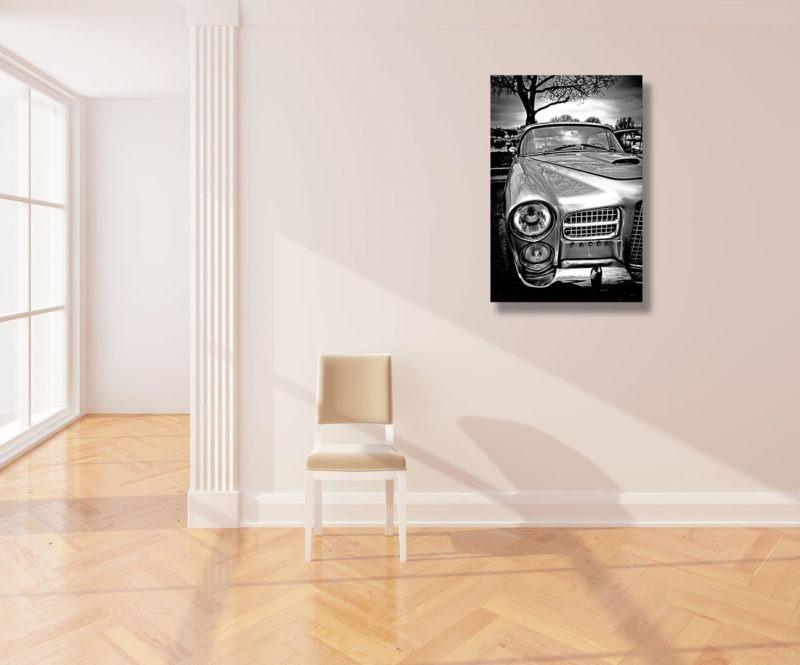 Tirage sur aluminium photographie facel vega vintage noir et blanc de Samantha Roux
