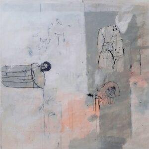 peinture acrylique sur bois gris clair et avec des personnages de philippe croq