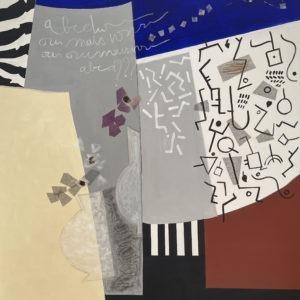 peinture abstraite grise et bleue acrylique sur toile grand format