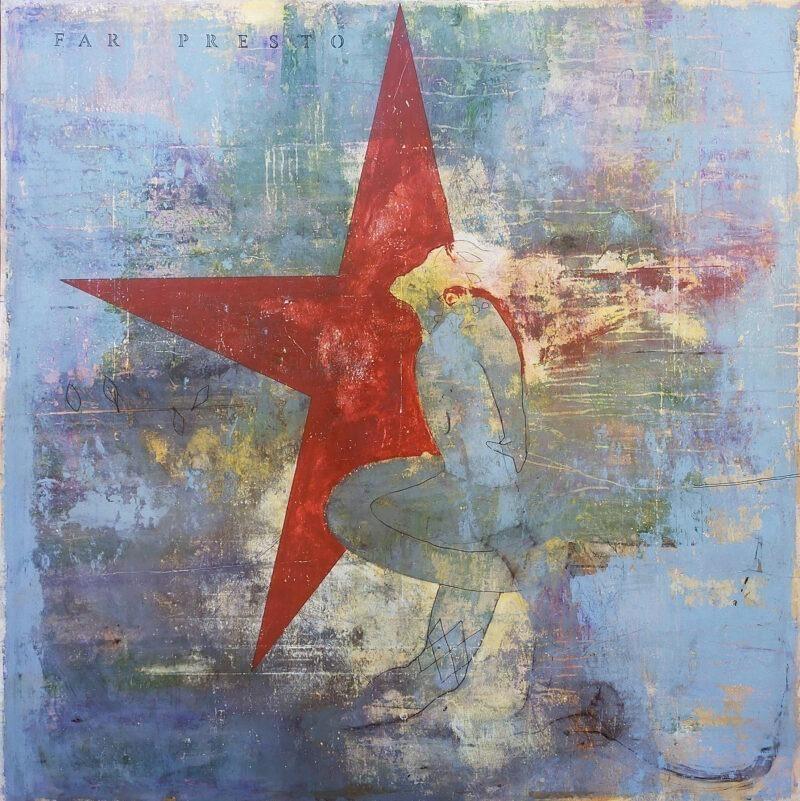 peinture acrylique contemporaine etoile rouge et fond bleu grand format de philippe croq