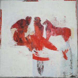 peinture acrylique sur bois beige clair et rouge avec des personnages et des animaux de philippe croq