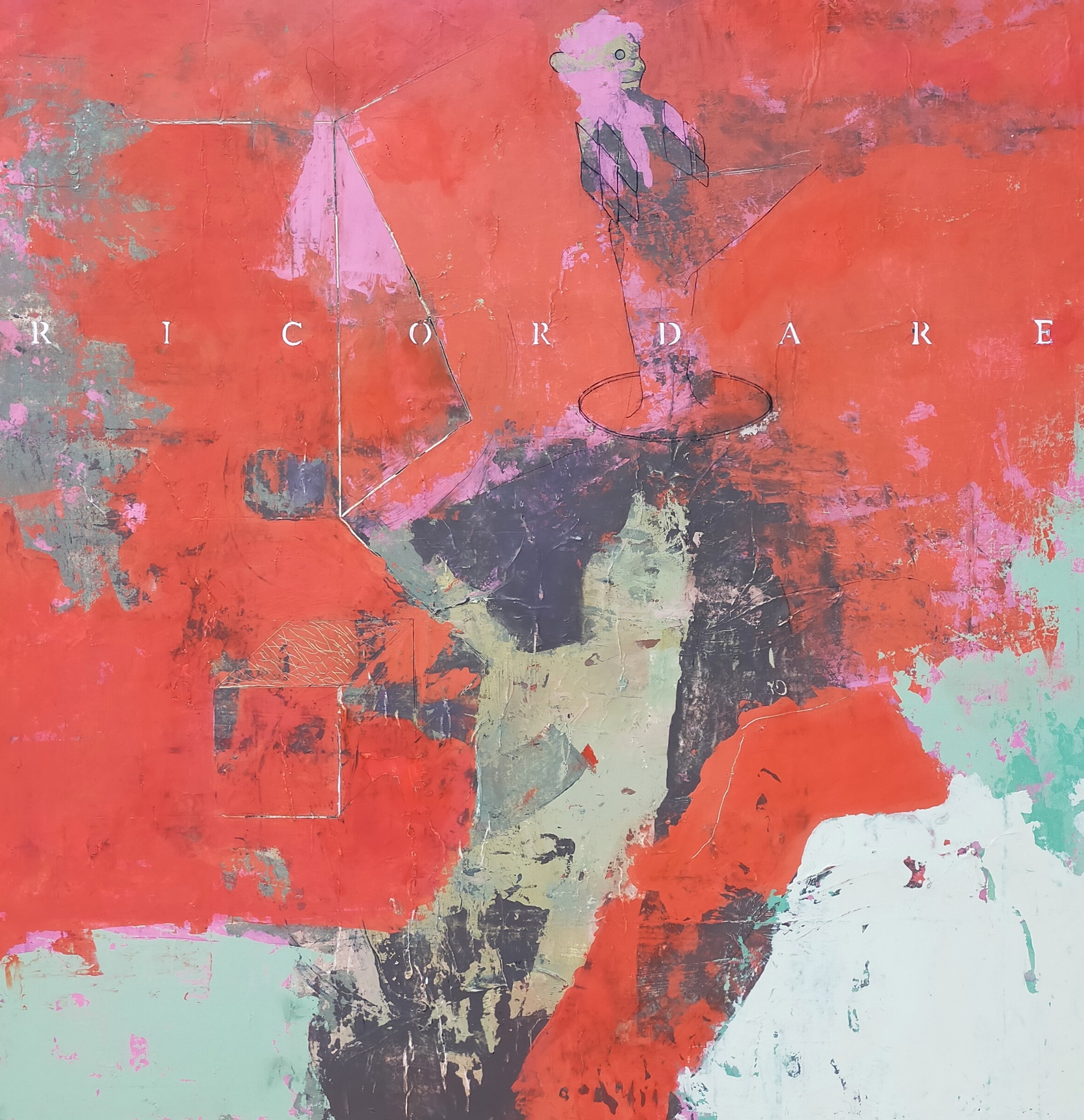 peinture acrylique sur bois rouge et avec des personnages de philippe croq