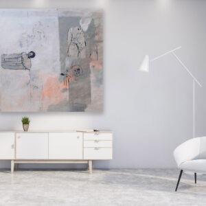 peinture acrylique sur bois gris clair et avec des personnages de philippe croq in situ