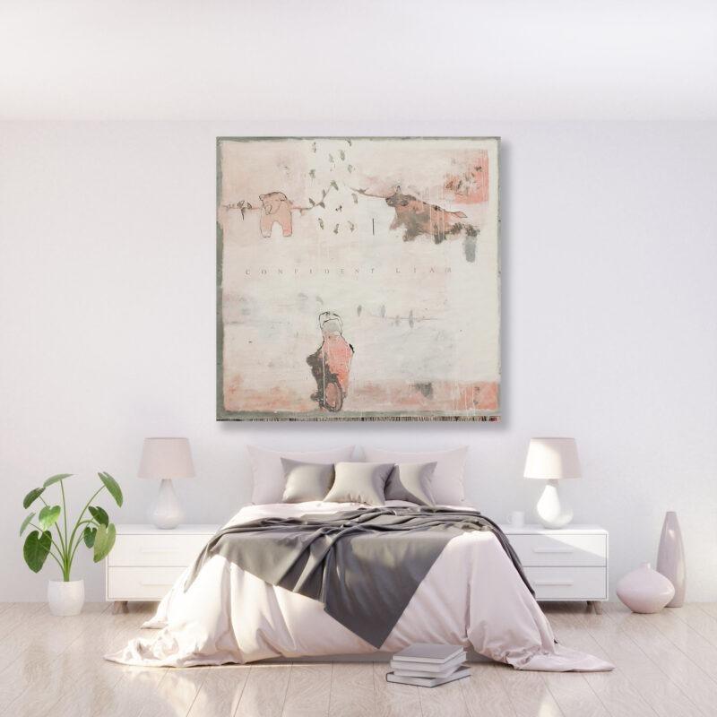 peinture acrylique sur bois beige clair et avec des personnages de philippe croq in situ