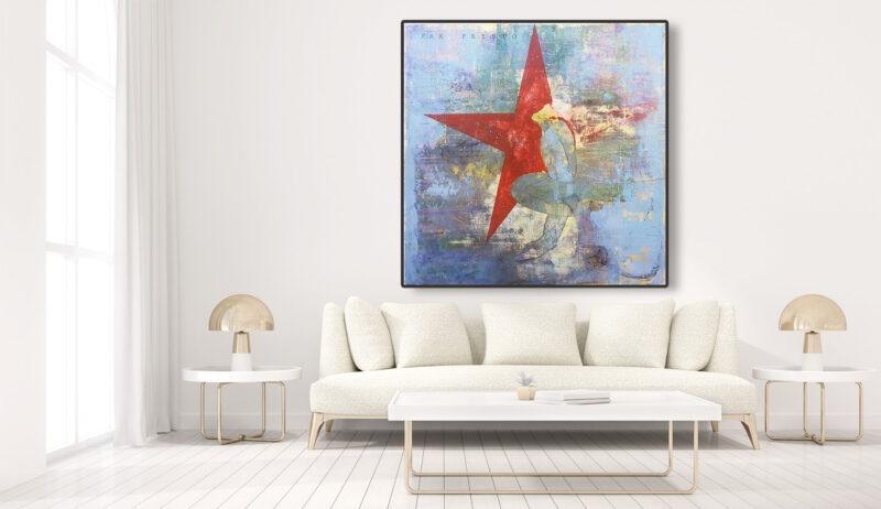 peinture acrylique contemporaine etoile rouge et fond bleu grand format de philippe croq in situ