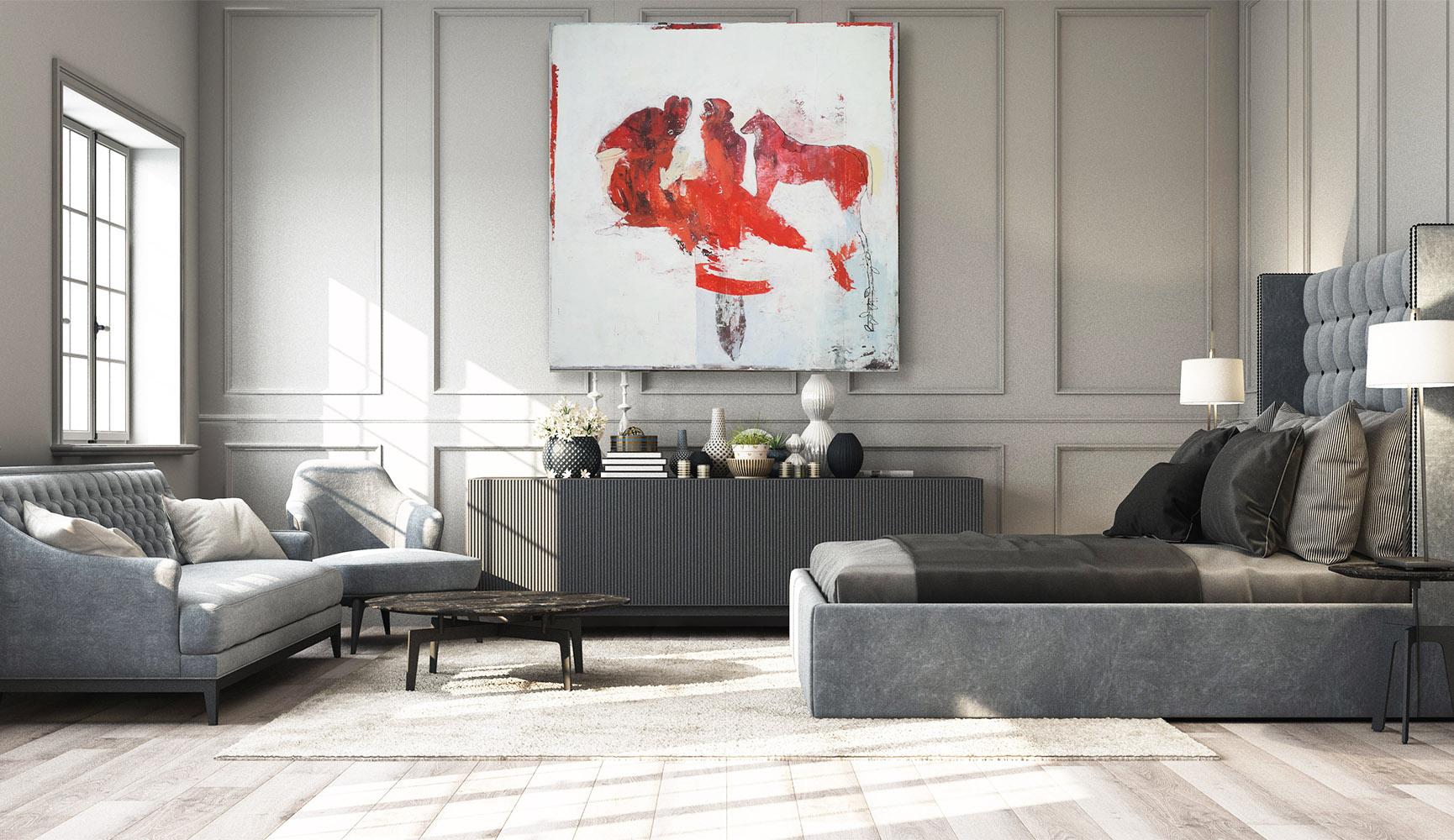 peinture acrylique sur bois beige clair et rouge avec des personnages et des animaux de philippe croq in situ