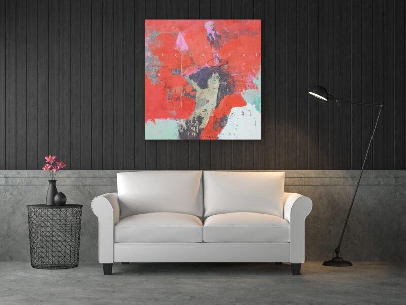 peinture acrylique sur bois rouge et avec des personnages de philippe croq in situ